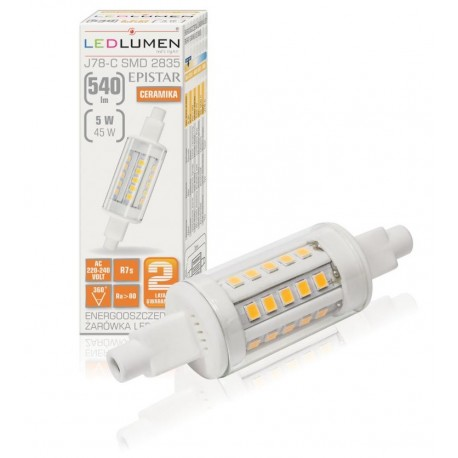 R7s 78mm 30led smd2835 5w 540lm warm white ceramic ledlumen for R7s led 78mm 100w