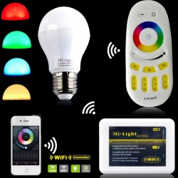 E27 RGB+CCT 6W 550Lm RF controller 2,4GHz MiLight