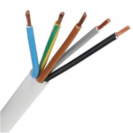 Kábel elek. CYSY 5x0,75mm H05VV-F 300/300V biely okrúhly