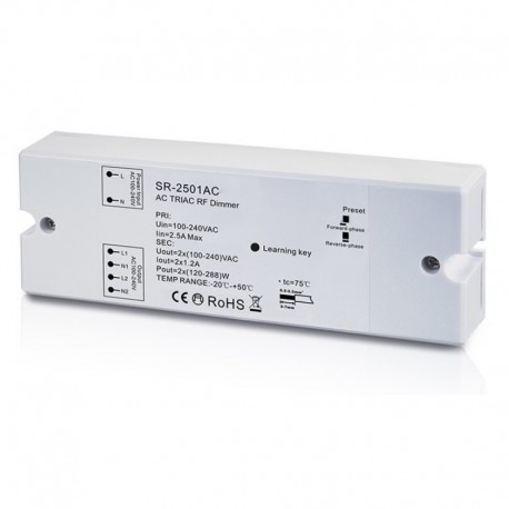 RF stmievač pre LED žiarovky - TRIAC-AC230V-2x1,2A-SR2501AC